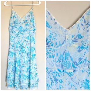 ANN TAYLOR Dress Floral 100% Silk Blue size 0 XS